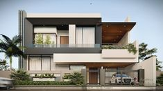 Architecture Discover Rendering by Aastitva Visualizers Modern Exterior House Designs, Best Modern House Design, Modern House Facades, Modern Villa Design, Modern Bungalow Exterior, Two Story House Design, Bungalow House Design, House Outside Design, House Front Design