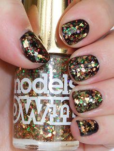 multi color gold glitter nails