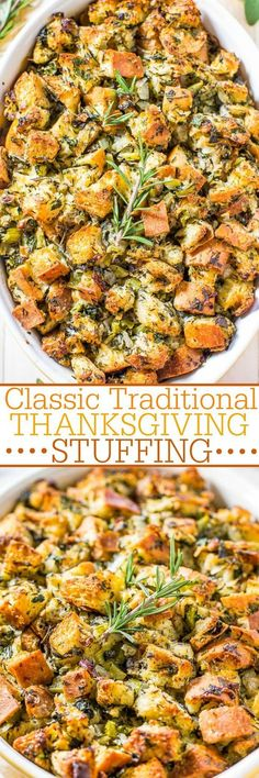 Classic Traditional Thanksgiving Stuffing - Nothing frilly or trendy. Classic, amazing, easy, homemade stuffing that everyone loves! Simple ingredients with stellar results! It'll be your new go-to recipe! Perfect for Thanksgiving. Stuffing Recipes For Thanksgiving, Thanksgiving Traditions, Thanksgiving Sides, Holiday Recipes, Thanksgiving Desserts, Christmas Desserts, Best Stuffing Recipe, Thanksgiving 2017, Holiday Foods
