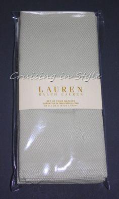 Ralph Lauren Celadon Harrison Celery Greens Napkins 4 Cloth 20 x 20 Cotton New #RalphLauren