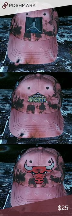 Custom Distress Bandana Dad hat New W/O Tag   Custom 1 of a kind  Dad hat (pink/peach and brown)  Crosses Bandana tie back (black and white)  Your choice of shown button and front logo  First come first serve Accessories Hats