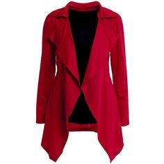Fashionable Style Solid Color Irregular Long Sleeves Tailored Collar... ($20) ❤ liked on Polyvore featuring outerwear, jackets, blazers, red slim fit blazer, red jacket, long sleeve blazer, blazer jacket and slim fit blazer