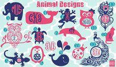 New Designs  Monogrammed Animal Vinyl Decals  by iluvmonograms2