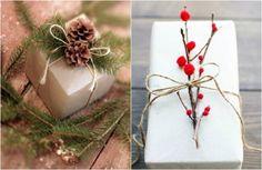"""Подарки на Новый год можно оформить в """"натуральном"""" стиле - шишки, еловые ветки, сухие ягоды"""