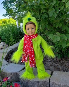 Little Mean Green is a handmade outfit to fit an 18 inch doll such as American Girl and others American Girl Doll Shoes, American Girl Clothes, Ag Dolls, Girl Dolls, American Girl Halloween, Green Fur, Christmas Bunny, Bitty Baby, Santa Outfit