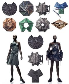 New origami fashion design inspiration issey miyake Ideas Fashion Cover, 3d Fashion, Fashion Dresses, Fashion Design, Fashion Details, Issey Miyake, Origami Clothing, Theme Design, Paper Clothes