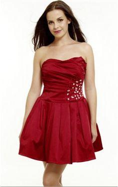 Best Ball Gown Short Strapless Red Satin Dress