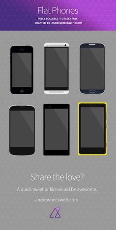 IPhones mockup in flat design PSD