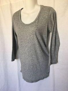 0b22728ddb8 PINK VICTORIA S SECRET Women s Wide Scoop Neck Long Sleeve T-Shirt Gray  Love ...
