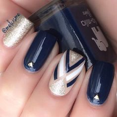 Dark blue nails with tape nail art: