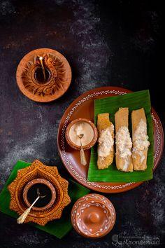 Mugshapta I Moongshapta (Yellow Moong Dal Crepes with a Coconut Jaggery Filling) Indian Desserts, Indian Sweets, Indian Food Recipes, Holi Recipes, Vegetarian Recipes, Bangladeshi Food, Bengali Food, Bengali Art, Bengali Culture