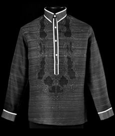 Black Barong Tagalog 3137 Take Barong Tagalog to the next level of style by adding this new design of embroidery complete with monochromatic color. Debut Dresses, Filipiniana Dress, Philippines Fashion, Filipino Tattoos, Dress Attire, Men Formal, Formal Wear, Line Shopping, Traditional Dresses