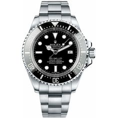 116660 Rolex Sea Dweller Deep Sea Mens Automatic Watch ($9,995) ❤ liked on Polyvore featuring men's fashion, men's jewelry, men's watches, stainless steel mens watches, mens black face watches, rolex mens watches and mens watches jewelry