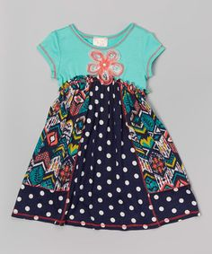 Another great find on #zulily! Navy & Mint Dot Floral-Waist A-Line Dress - Toddler & Girls #zulilyfinds