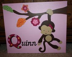 Monkey Canvas Painting Personalized Nursery SOCK MONKEY.