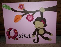 Monkey Canvas Painting Personalized Nursery SOCK MONKEY.