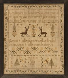 FRAMED NEEDLEWORK SAMPLER Wrought by