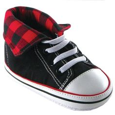 Fold-Down Hi-Top Sneakers, Red, 12-18 months Luvable Friends. Mini Converse All Stars for babies so fashionable!