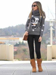 virginiamoon Outfit Invierno 2012. Combinar Botas Blancas UGG, Jersey Blanco ONLY, Cómo vestirse y combinar según virginiamoon el 23-1-2013