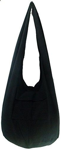 Rare Asian East Hippie Hobo Cotton Sling Cross-body Handmade Asia Black Thai Pattern Bag Shoulder Purse. Visit website to read more description.