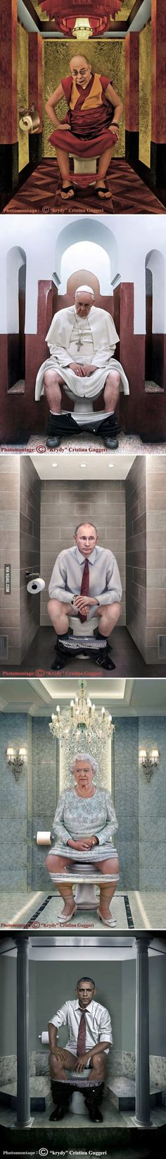 Cristina Guggeri's paintings of World Leaders on the toilet.