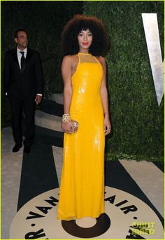 Sunny yellow, Solange Knowles - Vanity Fair Oscars Party 2013, http://www.justjared.com