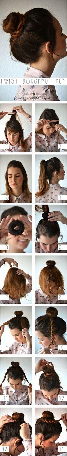 Coque, cabelo, trança, tutorial, penteado