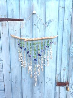 Coloured sea glass & driftwood windchime  Made by me CB