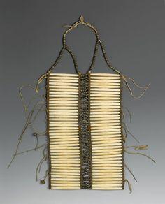 Native American. Breastplate, late 19th century. Bone, hide, beads, metal, 24 1/2 x 10 x 1/8 in. (62.2 x 25.4 x 0.3 cm). Brooklyn Museum, Brooklyn Museum Collection, X1104.4. Creative Commons-BY (Photo: Brooklyn Museum, X1104.4_PS2.jpg)
