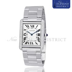 0.80ct Total Diamond Cartier Tank Solo Large Stainless Steel W5200014 Watch #Cartier