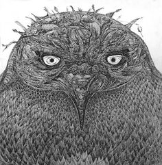 """This drawing by Karin Uusikorpi of an owl is incredible. I found it by accident by looking through flickr. Karin writes about herself: """" I am a prairie girl born in Saskatchewan and raised in Northern Alberta. I draw, paint and play with colour. I eventually will get back to making things out of clay. I have made art in some form or another since I was little & still do. I am always picking stuff off the ground and saving it for future use - I am a self proclaimed 'packrat' and 'magpie'…"""