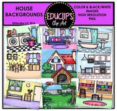 House Backgrounds Clip Art Bundle - Home Decor Background Clipart, Clip Art Pictures, Black N White Images, Dog Houses, House Front, House Rooms, Colorful Pictures, Home Decor Styles, Home Art
