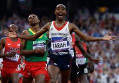 Britain's Mohamed Farah celebrates as he crosses the finish line to win the men's final during the athletics in the Olympic Stadium at the 2012 Summer Olympics, London, Saturday, Aug. Long Jump, High Jump, Olympic Sports, Olympic Games, Galen Rupp, Play Run, Mo Farah, Sports, Health