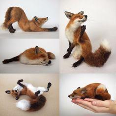 Needle felted fox sculptures