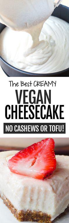 How to make creamy keto cheesecake with vegan and gluten free options #keto #lowcarb #ketodessert #sugarfree #healthyrecipes #ketoideas #ketorecipes #cheesecake #ketocake Cheesecake Sem Lactose, Dairy Free Cheesecake, Basic Cheesecake, Cashew Cheesecake, Cheesecake Cake, Vegan Cheesecake Recipes, Vegan Treats, Vegan Foods, Vegan Dishes