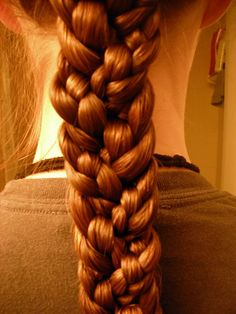 Intense Braid- I THINK I know how to do this.   you separate your hair into three sections at the back of your head. Have the section be a different size and braid each section. Then braid each already braided section together, tying it off at the end.    I hope that's correct