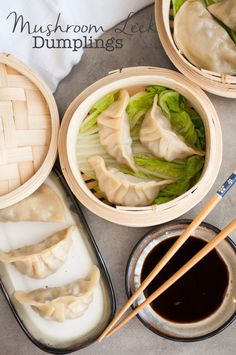 Mushroom Leek Chinese Dumplings