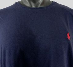 NWT Polo Ralph Lauren L Mens T-Shirt Classic Fit LS Ink Blue Red Pony Crew Neck…