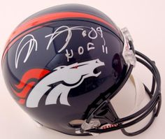 "Shannon Sharpe Autographed Full-Size Replica Helmet with ""HOF 2011"" Inscription #SportsMemorabilia #DenverBroncos"