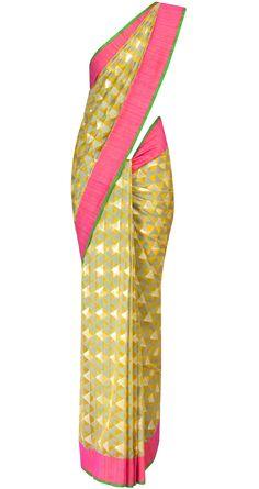 Multicoloured banarasi net sari by EKAYA. Shop at http://www.perniaspopupshop.com/whats-new/ekaya-15