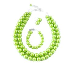 LIME GREEN Bridesmaid Jewelry Lime Green Spring Wedding 2015 Bridesmaid Gift by WildflowersAndGrace LIME GREEN Bridesmaid Jewelry - Lime Green Wedding - Chartreuse - Spring Wedding - Pearl Necklace  Pistachio Lime Green Necklace - 35 Colors