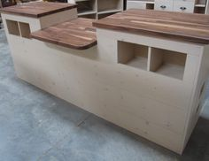 Custom Rustic Wood Cash Wrap Sales Counter cubbies ADA-Compliant. http://jbrothersandcompany.com/