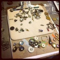 Sorting through one of my junk drawers for pairs- maybe for earrings maybe to delay real work maybe for inspiration. #junk #upcycling #repurposing #jewelrydesigner #jewelry #artsupplies #art #foundobjects