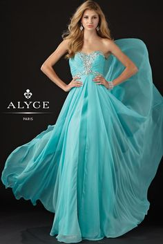 2013 Prom Dresses, Alyce Paris 6925 sky blue beaded dress available now at RissyRoos.com.