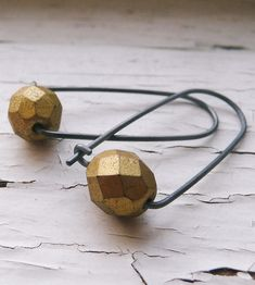 Gold Bead Black Box Earrings by k.o'brien jewelry on Scoutmob