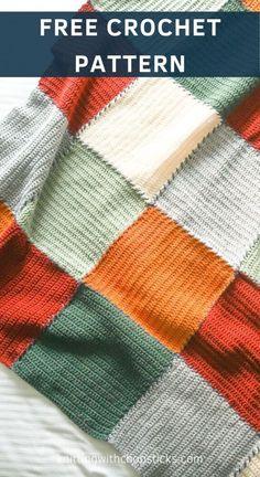 Block Blanket Beginner Crochet Blanket | Knitting with Chopsticks Crochet For Beginners Blanket, Easy Crochet Blanket, Patchwork Blanket, Crochet Blanket Patterns, Afghan Patterns, Crochet Patterns For Beginners, Beginner Crochet, Knitting For Beginners, Free Crochet