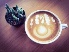 Latte coffee with cactus by mutita.narkmuang on Creative Market