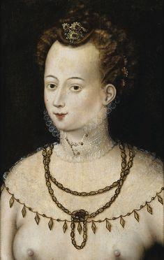 Ecole de Fontainebleau / School of Fontainebleau - PORTRAIT DE JEUNE FEMME 'ALLÉGORIE DE LA BEAUTÉ' / PORTRAIT OF A YOUNG LADY 'ALLEGORY OF BEAUTY. c.1580'