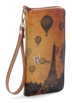 Sepia You Soon Clutch in Paris - Faux Leather, Brown, Print, French / Victorian, Top Rated
