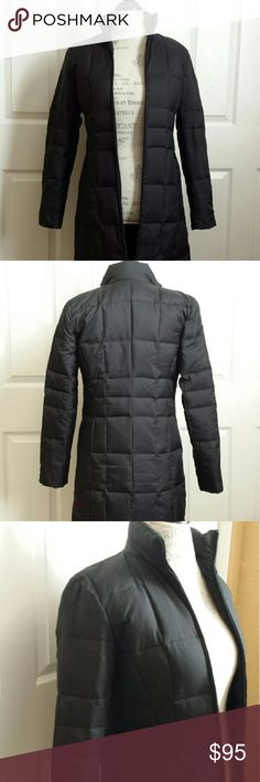 """Ann Taylor Long Goose Down Coat Warm down-insulated jacket in black.  Light weight. Contoured quilting for definition at waist. Two-way front zip. Covered-zip hand pockets. 55% goose down, 45 % goose feathers. Stylish, versatile coat can be dressed up or down.  36"""" in length. Excellent, like new condition. Ann Taylor Jackets & Coats Puffers"""